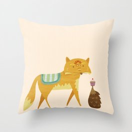 The Fox and the Hedgehog Throw Pillow