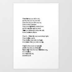 10 Things i Hate About You - Poem Art Print