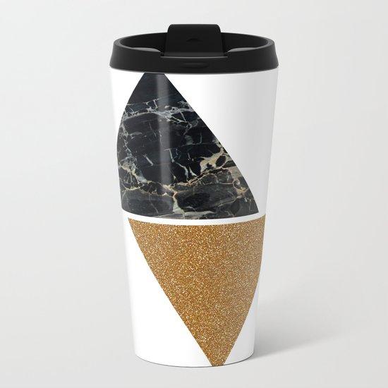 Dark marble and bronze geo Metal Travel Mug