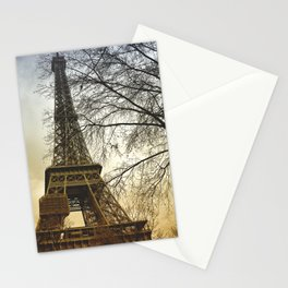 Winter sunset near the Eiffel tower in Paris Stationery Cards