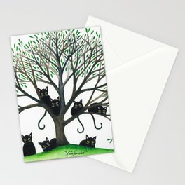 Borders Whimsical Cats in Tree Stationery Cards
