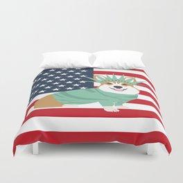 Corgi July 4 USA America Design cute corgi patriotic dog Duvet Cover