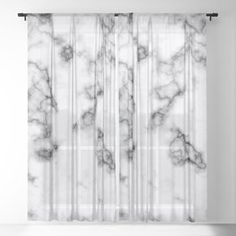 White and Black Veined Faux Marble Repeat Sheer Curtain