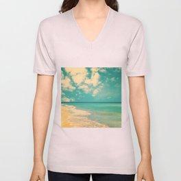 Retro beach and turquoise sky (square) Unisex V-Neck