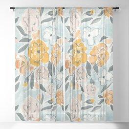 Watercolor Sketch Floral Sheer Curtain
