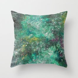 A galactic ocean -Green- Cosmic Painting Art Throw Pillow