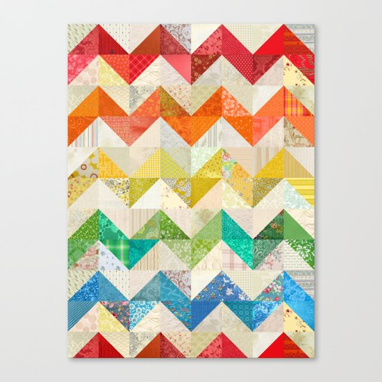 Chevron Rainbow Quilt Canvas Print