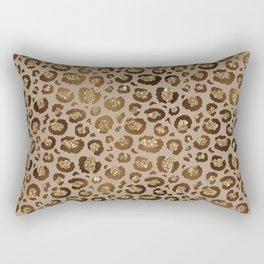 Brown Glitter Leopard Print Pattern Rectangular Pillow