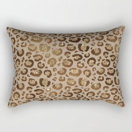 Brown Glitter Leopard Print Pattern Rectangular Pillow