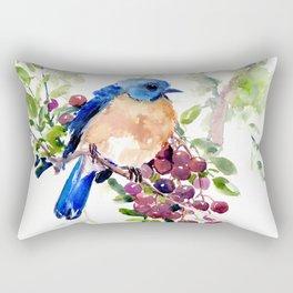 Bluebird and Berries Rectangular Pillow