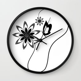 Pollination in black and white Wall Clock