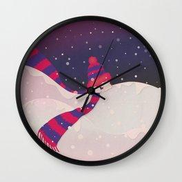 Christmas Peekaboo Snowman II - Blue Violet Snowy Background Wall Clock
