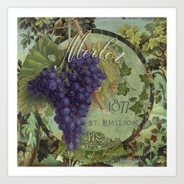 Wines of France Merlot Art Print
