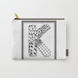 Zentangle K Monogram Alphabet initial Carry-All Pouch