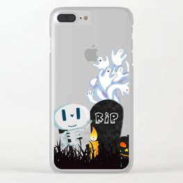 Cute Skeleton and Ghosts Beside a Gravestone Clear iPhone Case