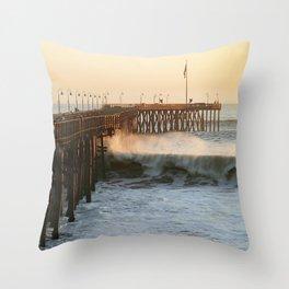 Ventura Pier with Big Wave Throw Pillow