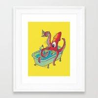 kraken Framed Art Prints featuring kraken by Caramela