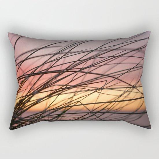 Grasses in the rainbow light of sunset Rectangular Pillow
