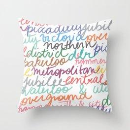 Handwritten tube lines Throw Pillow