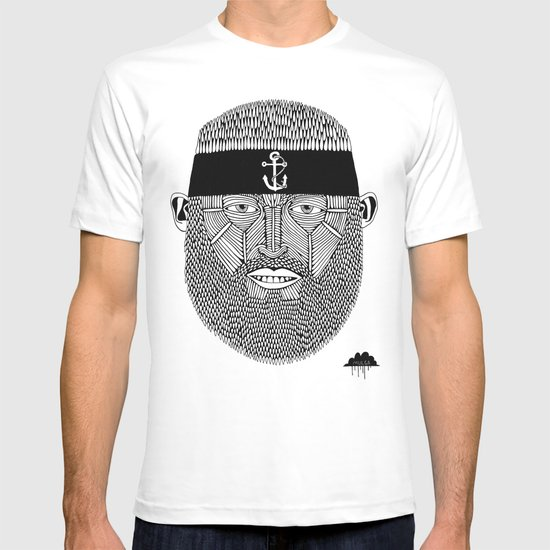 The One Armed Sushi Chef (Bearded Man Wearing Anchor Headband) T-shirt