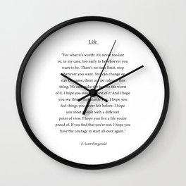 For what its worth - F. Scott Fitzgerald Wall Clock