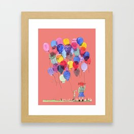 Girl with balloons whimsical illustration with a coral pink background Framed Art Print