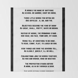 Parts of Speech Rhyme Throw Blanket