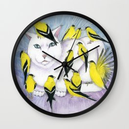 Cat Covered in Goldfinches Wall Clock
