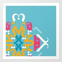 Blue Arabic Art Print