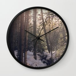 Winter forest sunset Wall Clock