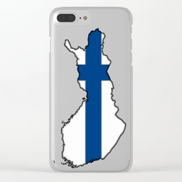 Finland Map with Finnish Flag Clear iPhone Case