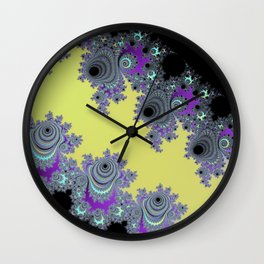 Asymmetrical Fractal in Yellow, Black and Purple Wall Clock
