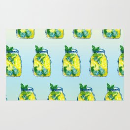 Watercolor - Iced Lemon Mint Tea Rug