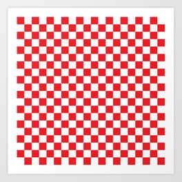 Red Checkerboard Pattern Art Print