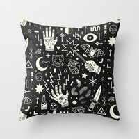 pop Throw Pillows featuring Witchcraft by LordofMasks