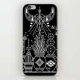 Santa Fe Garden – White Ink on Black iPhone Skin