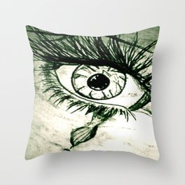 Crying Eye Graphite Illustration Throw Pillow