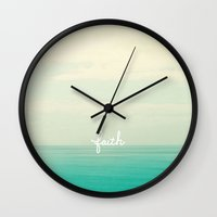 faith Wall Clocks featuring faith by Lisa Argyropoulos