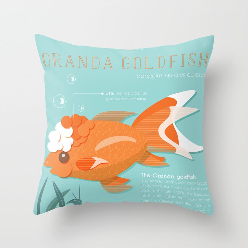 Encyclopedia of Fancy Fish: Oranda Goldfish Throw Pillow by