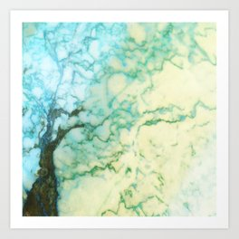 Abstract modern teal brown marble tree pattern Art Print