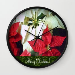 Mixed Color Poinsettias 2 Merry Christmas S6F1 Wall Clock