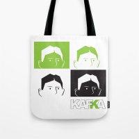 kafka Tote Bags featuring Kafka Faces by Kafka Prepa Abierta