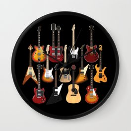 Too Many Guitars! Wall Clock