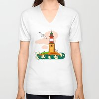 lighthouse V-neck T-shirts featuring Lighthouse by LaDa