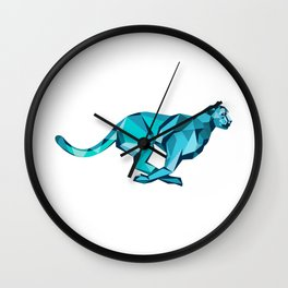 Cheetah Full Speed Running Low Poly Wall Clock
