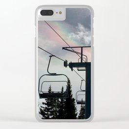 4 Seat Chair Lift Rainbow Sky \\ The Mountain Sun Rays \\ Spring Skiing Colorado Winter Snow Sports Clear iPhone Case