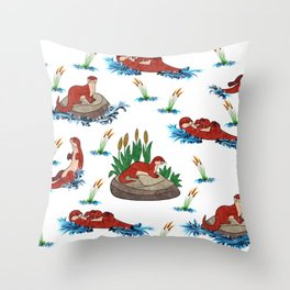 Otter Love of Otters Throw Pillow