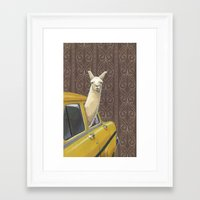 farm Framed Art Prints featuring Taxi Llama by Jason Ratliff