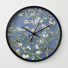Almond Blossom - Vincent Van Gogh (blue pastel) Wall Clock