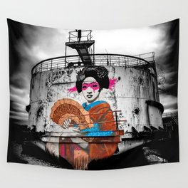 Geisha Graffiti Wall Tapestry